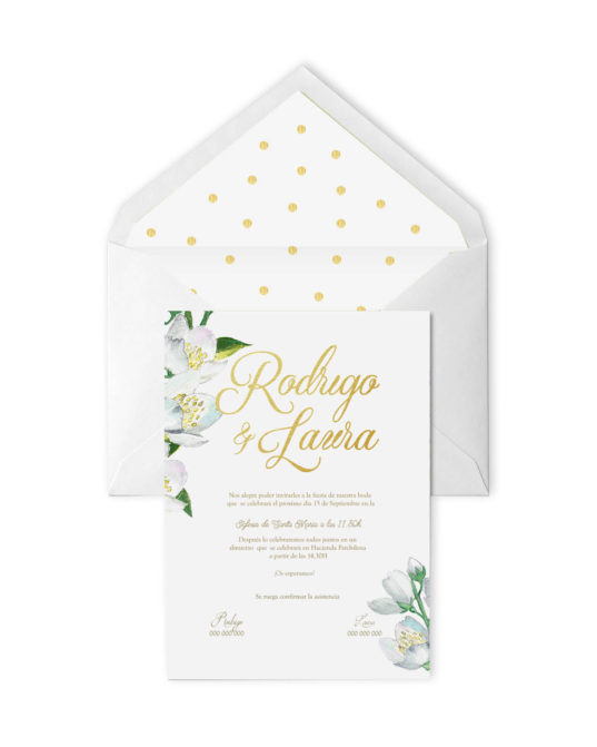 Invitación de boda Gold Flower