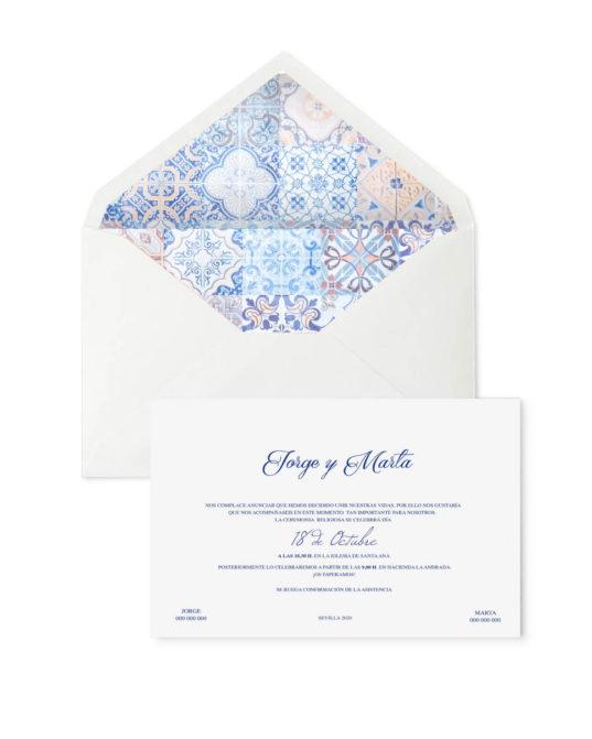 Invitación de boda Azulejo