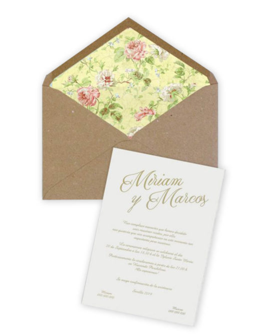 Invitación de boda Yellow
